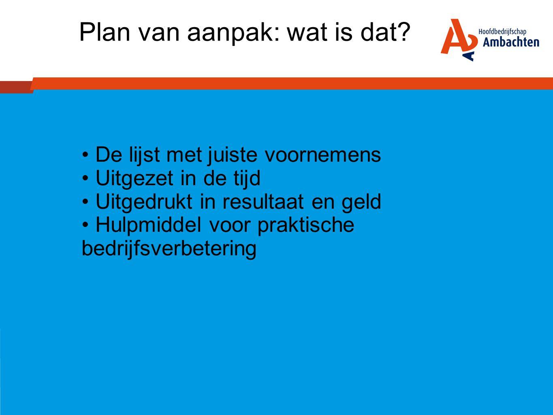 Plan van aanpak: wat is dat? • De lijst met juiste voornemens • Uitgezet in de tijd • Uitgedrukt in resultaat en geld • Hulpmiddel voor praktische bed