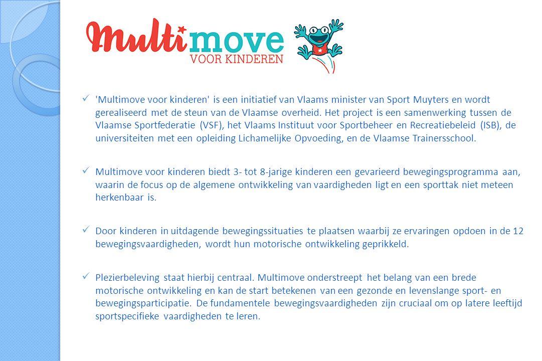  Multimove voor kinderen is een initiatief van Vlaams minister van Sport Muyters en wordt gerealiseerd met de steun van de Vlaamse overheid.