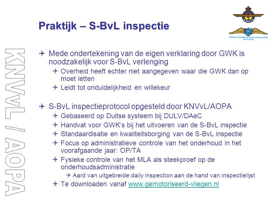 Praktijk – S-BvL inspectie  Mede ondertekening van de eigen verklaring door GWK is noodzakelijk voor S-BvL verlenging  Overheid heeft echter niet aa