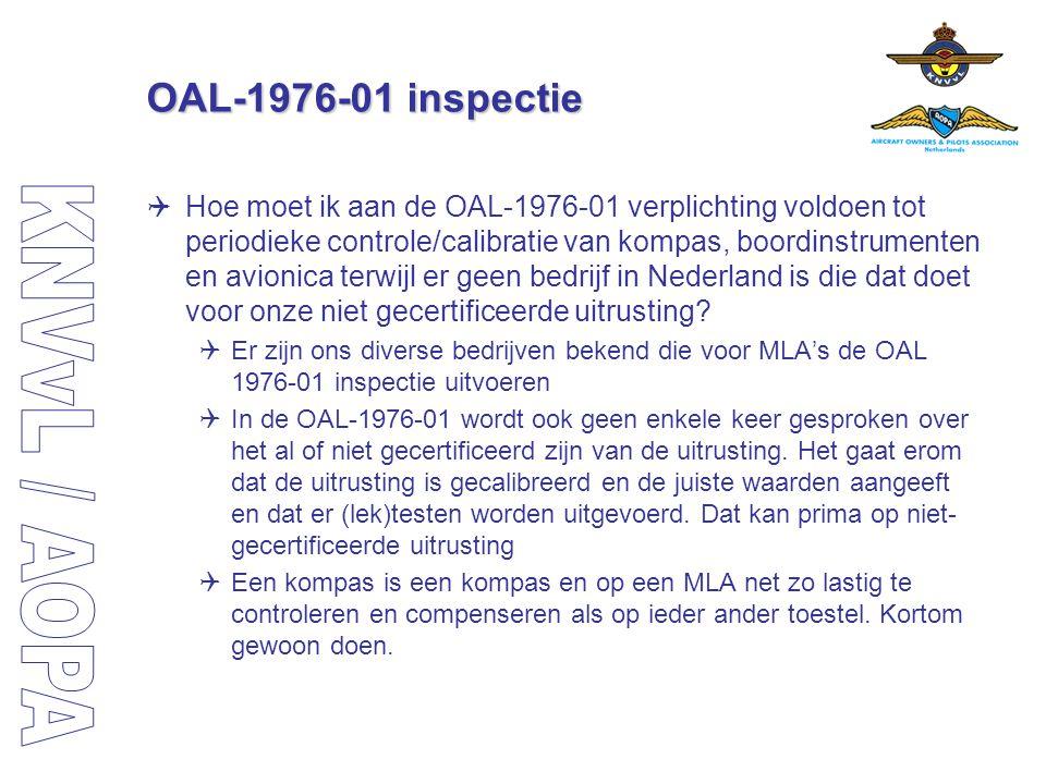 OAL-1976-01 inspectie  Hoe moet ik aan de OAL-1976-01 verplichting voldoen tot periodieke controle/calibratie van kompas, boordinstrumenten en avioni