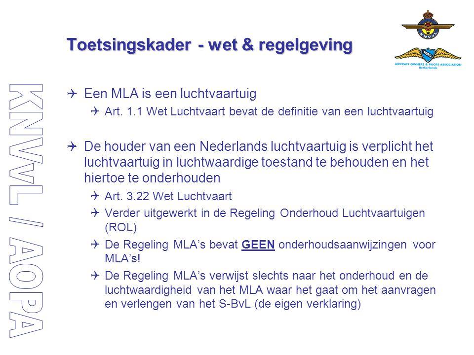Toetsingskader - wet & regelgeving  Een MLA is een luchtvaartuig  Art. 1.1 Wet Luchtvaart bevat de definitie van een luchtvaartuig  De houder van e