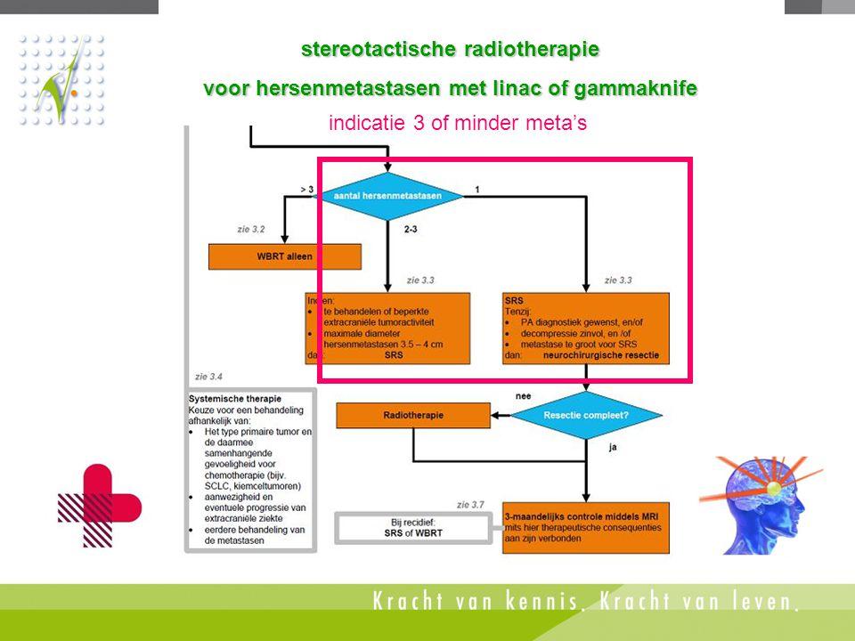 indicatie: hersenmetastasen stereotactische radiotherapie voor hersenmetastasen met linac of gammaknife indicatie 3 of minder meta's