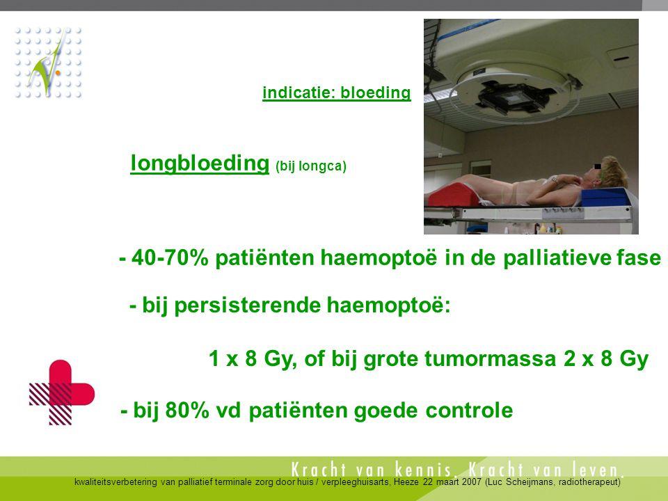 kwaliteitsverbetering van palliatief terminale zorg door huis / verpleeghuisarts, Heeze 22 maart 2007 (Luc Scheijmans, radiotherapeut) - bij 80% vd pa