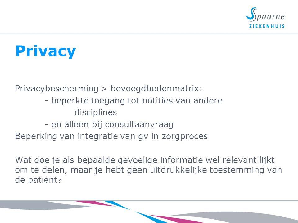 Privacy Privacybescherming > bevoegdhedenmatrix: - beperkte toegang tot notities van andere disciplines - en alleen bij consultaanvraag Beperking van