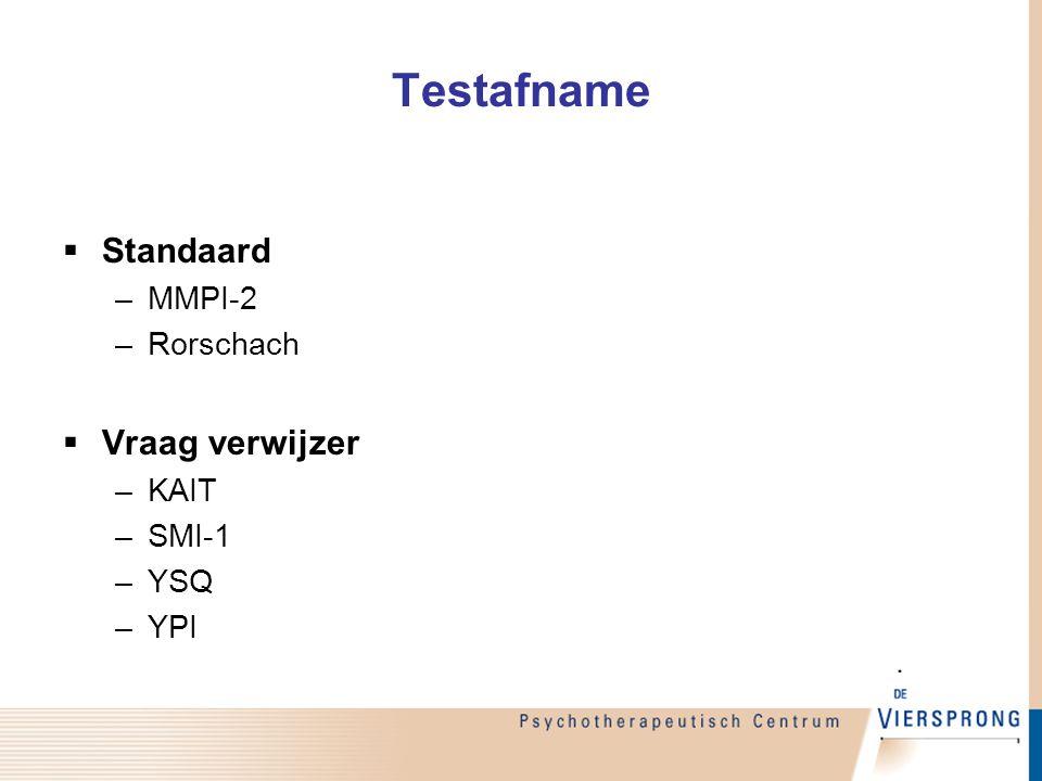 Testafname  Standaard –MMPI-2 –Rorschach  Vraag verwijzer –KAIT –SMI-1 –YSQ –YPI