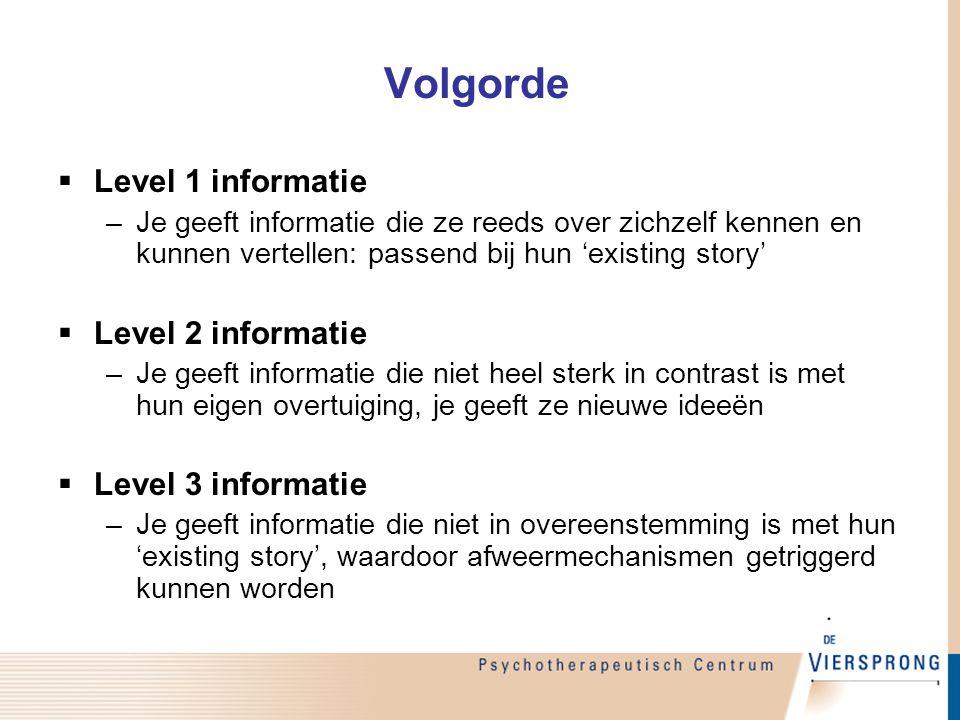 Volgorde  Level 1 informatie –Je geeft informatie die ze reeds over zichzelf kennen en kunnen vertellen: passend bij hun 'existing story'  Level 2 i
