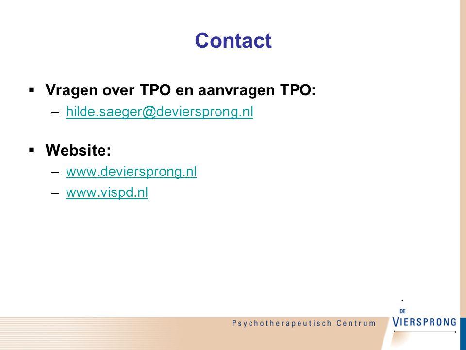 Contact  Vragen over TPO en aanvragen TPO: –hilde.saeger@deviersprong.nlhilde.saeger@deviersprong.nl  Website: –www.deviersprong.nlwww.deviersprong.nl –www.vispd.nlwww.vispd.nl