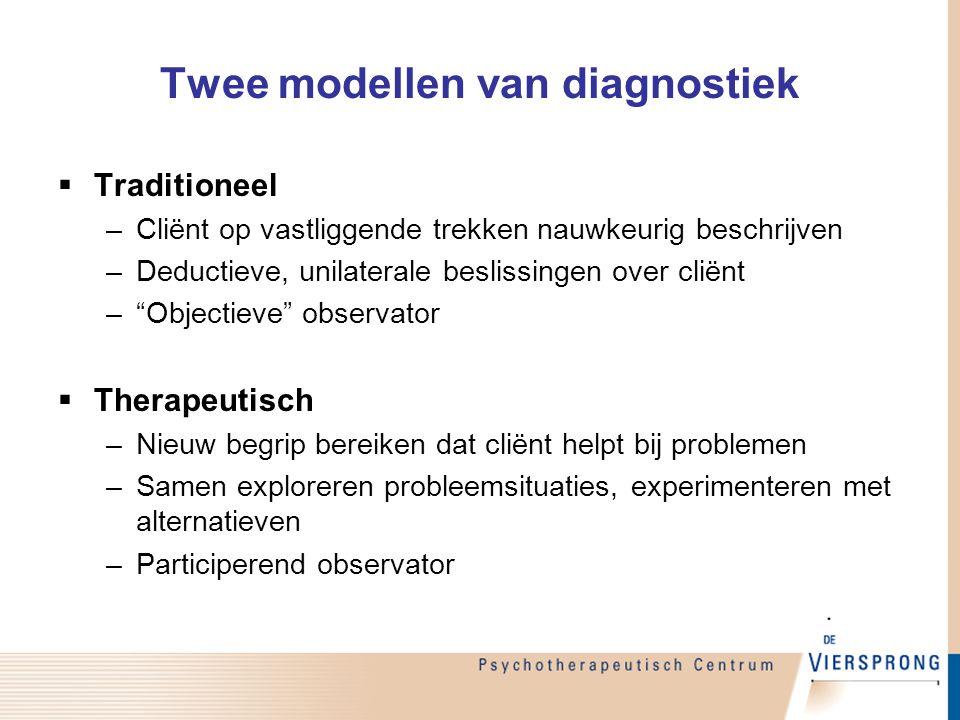 Twee modellen van diagnostiek  Traditioneel –Cliënt op vastliggende trekken nauwkeurig beschrijven –Deductieve, unilaterale beslissingen over cliënt