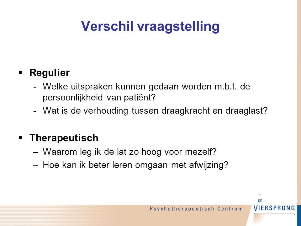 Verschil vraagstelling  Regulier -Welke uitspraken kunnen gedaan worden m.b.t. de persoonlijkheid van patiënt? -Wat is de verhouding tussen draagkrac