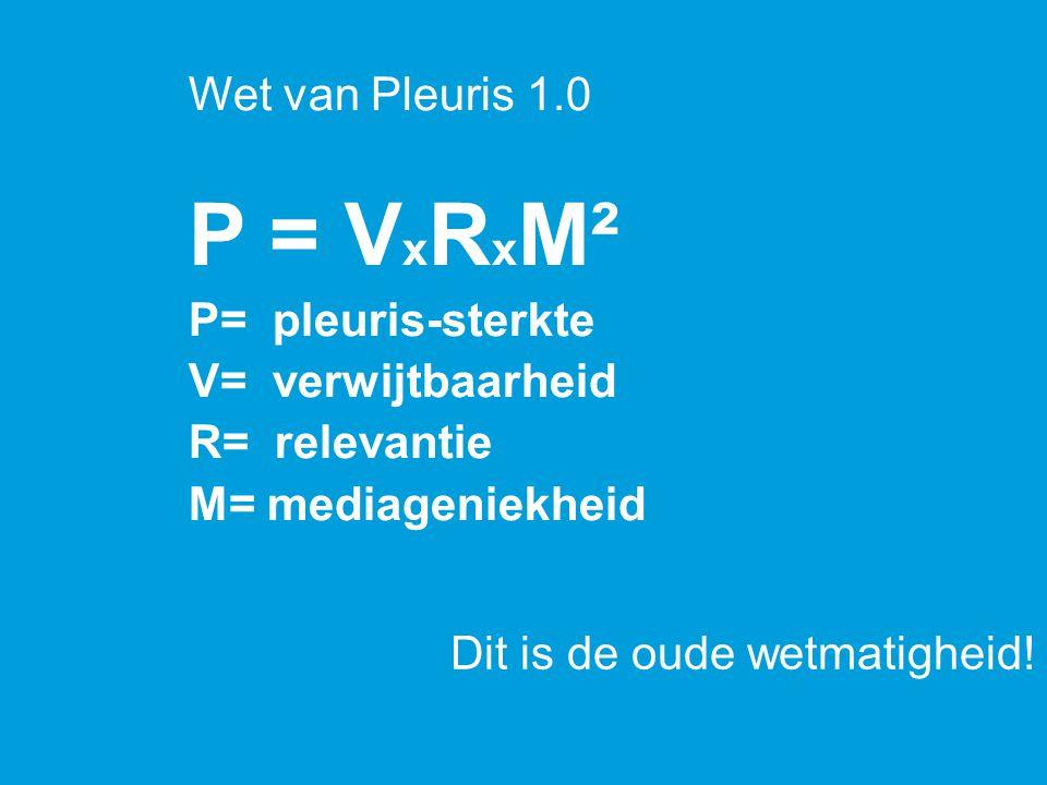 P = V x R x M² P= pleuris-sterkte V= verwijtbaarheid R= relevantie M= mediageniekheid Wet van Pleuris 1.0 Dit is de oude wetmatigheid!