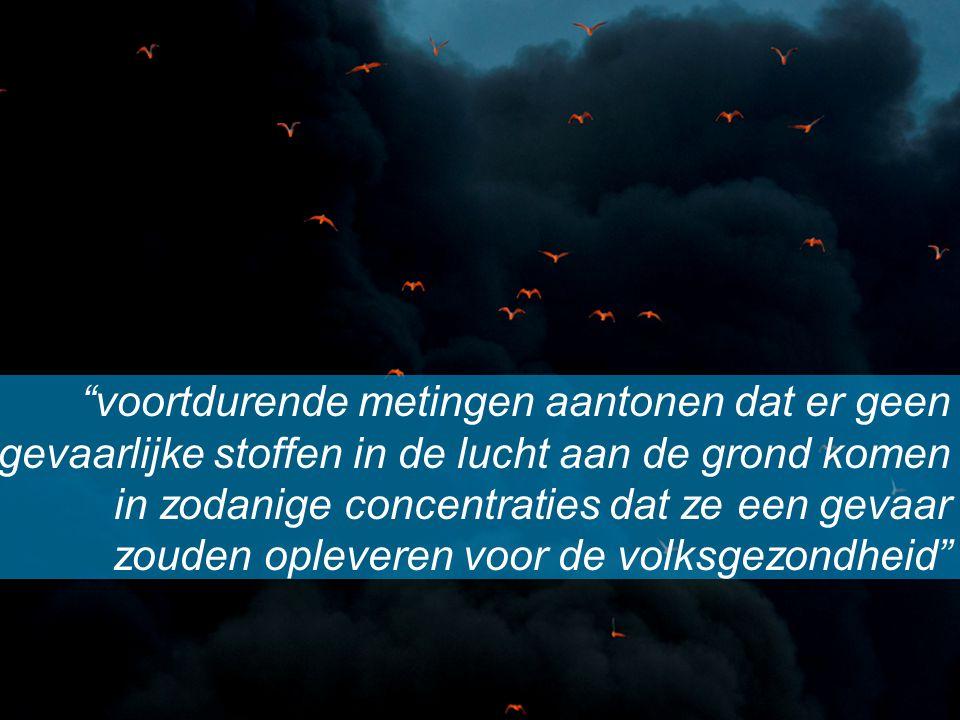 """""""voortdurende metingen aantonen dat er geen gevaarlijke stoffen in de lucht aan de grond komen in zodanige concentraties dat ze een gevaar zouden ople"""