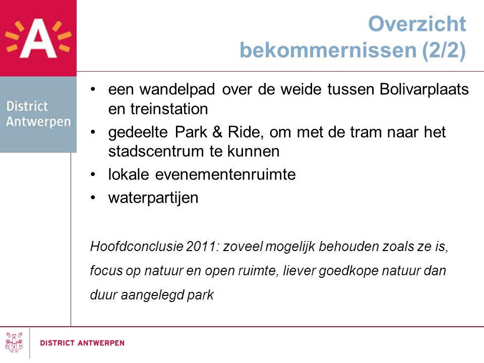 Overzicht bekommernissen (2/2) •een wandelpad over de weide tussen Bolivarplaats en treinstation •gedeelte Park & Ride, om met de tram naar het stadsc