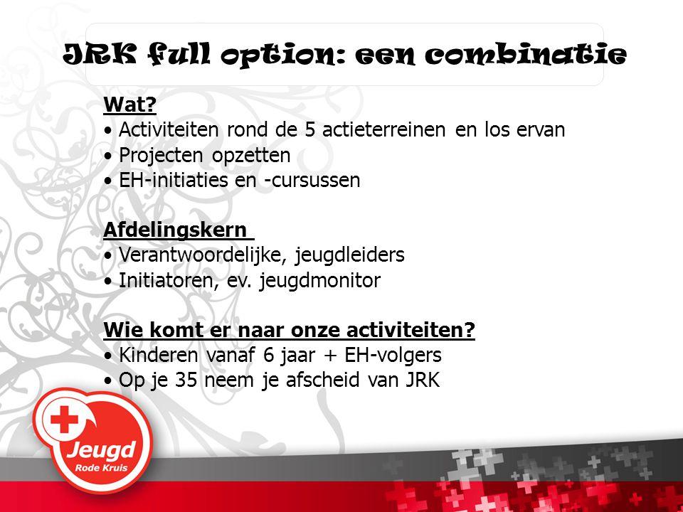 JRK full option: een combinatie Wat? • Activiteiten rond de 5 actieterreinen en los ervan • Projecten opzetten • EH-initiaties en -cursussen Afdelings