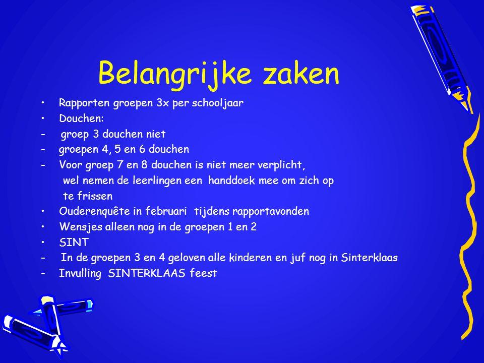 Belangrijke zaken •Rapporten groepen 3x per schooljaar •Douchen: - groep 3 douchen niet -groepen 4, 5 en 6 douchen -Voor groep 7 en 8 douchen is niet