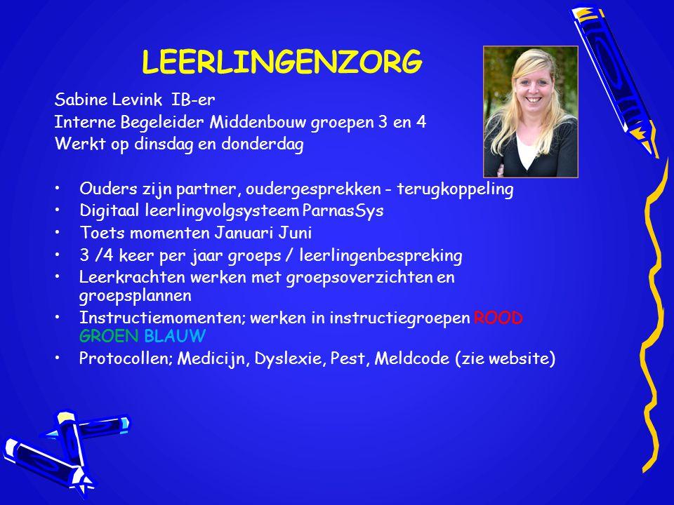 LEERLINGENZORG Sabine Levink IB-er Interne Begeleider Middenbouw groepen 3 en 4 Werkt op dinsdag en donderdag •Ouders zijn partner, oudergesprekken -