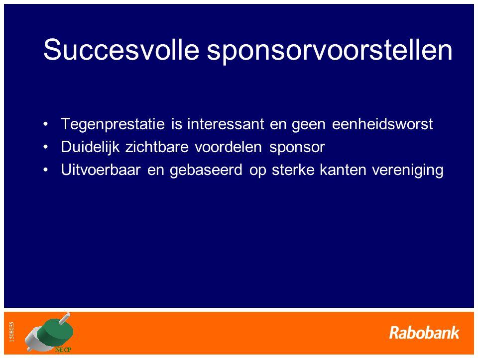1508035 Succesvolle sponsorvoorstellen •Tegenprestatie is interessant en geen eenheidsworst •Duidelijk zichtbare voordelen sponsor •Uitvoerbaar en geb