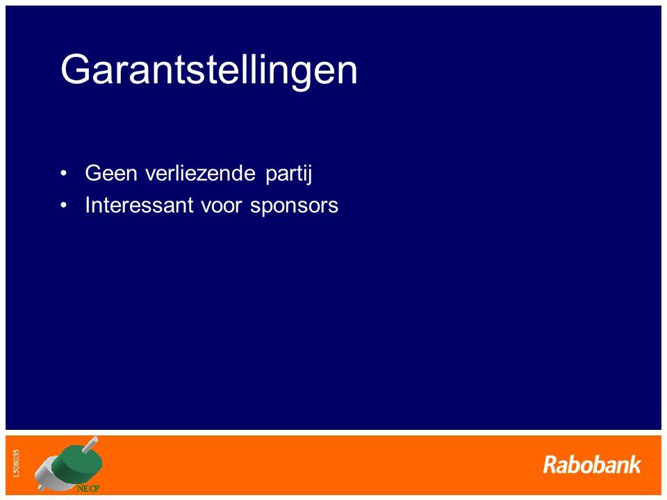 1508035 Garantstellingen •Geen verliezende partij •Interessant voor sponsors