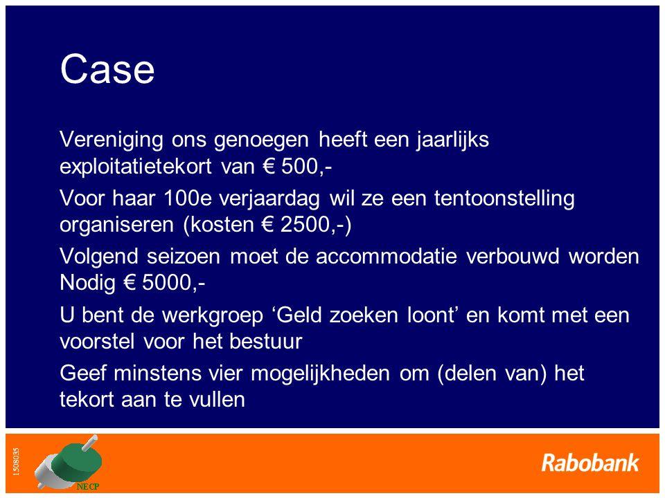 1508035 Case Vereniging ons genoegen heeft een jaarlijks exploitatietekort van € 500,- Voor haar 100e verjaardag wil ze een tentoonstelling organisere