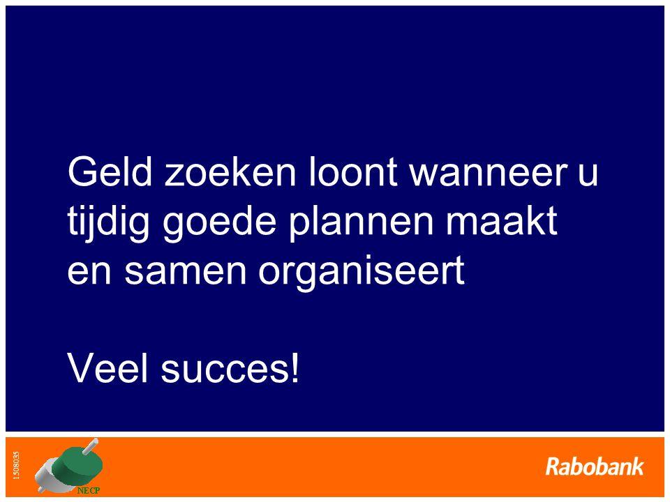 1508035 Geld zoeken loont wanneer u tijdig goede plannen maakt en samen organiseert Veel succes!
