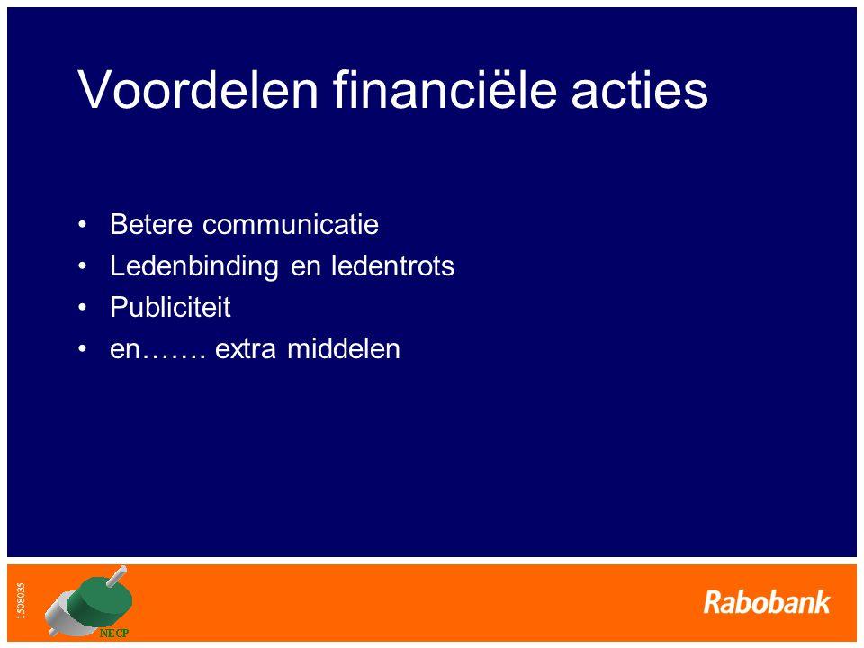 1508035 Voordelen financiële acties •Betere communicatie •Ledenbinding en ledentrots •Publiciteit •en……. extra middelen