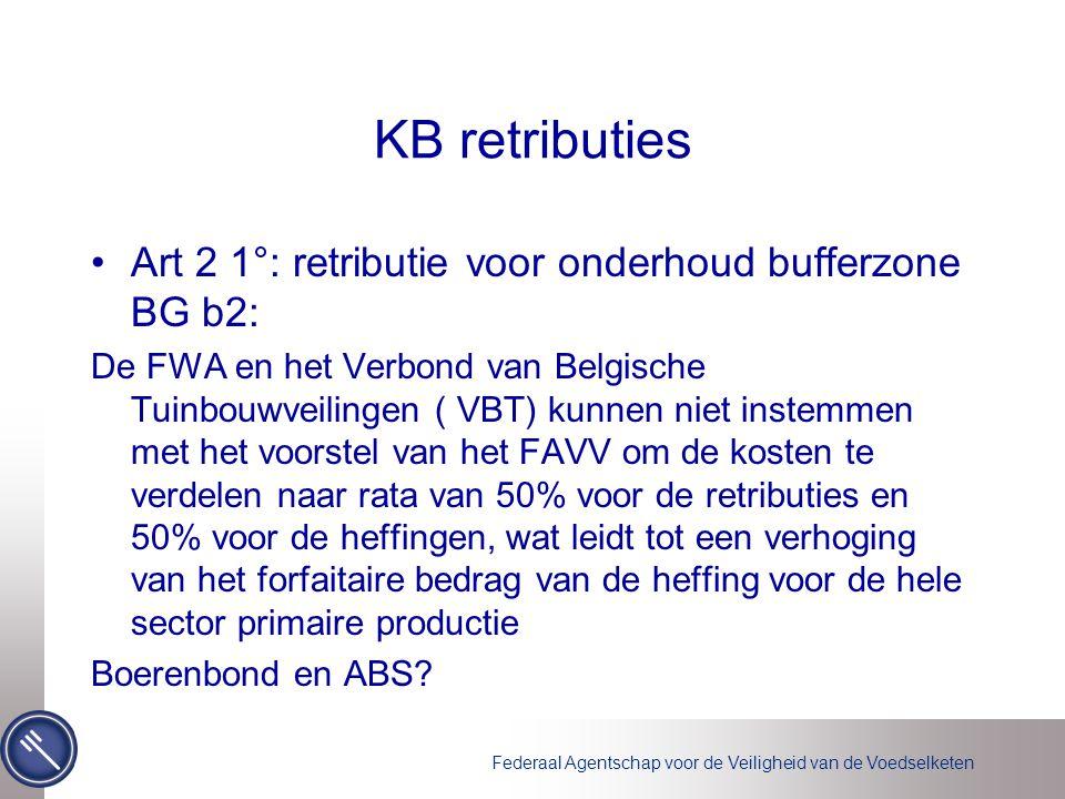 Federaal Agentschap voor de Veiligheid van de Voedselketen KB retributies •Art 2 1°: retributie voor onderhoud bufferzone BG b2: De FWA en het Verbond van Belgische Tuinbouwveilingen ( VBT) kunnen niet instemmen met het voorstel van het FAVV om de kosten te verdelen naar rata van 50% voor de retributies en 50% voor de heffingen, wat leidt tot een verhoging van het forfaitaire bedrag van de heffing voor de hele sector primaire productie Boerenbond en ABS