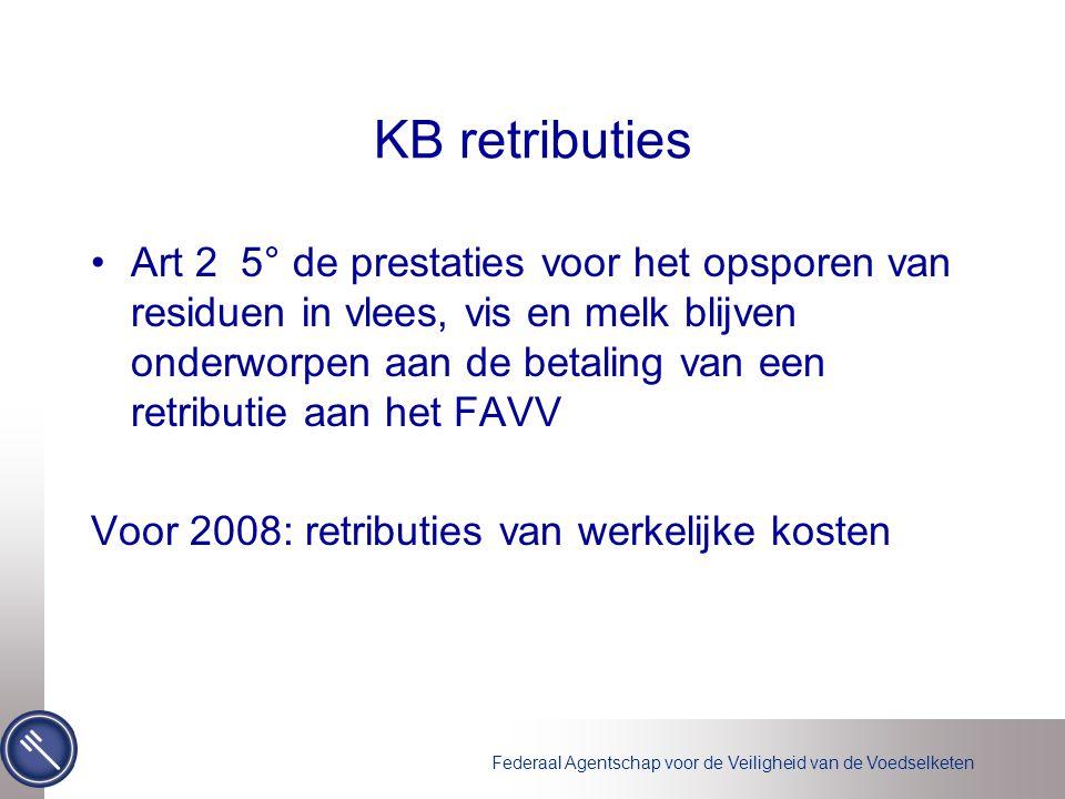 Federaal Agentschap voor de Veiligheid van de Voedselketen KB retributies •Art 2 5° de prestaties voor het opsporen van residuen in vlees, vis en melk blijven onderworpen aan de betaling van een retributie aan het FAVV Voor 2008: retributies van werkelijke kosten