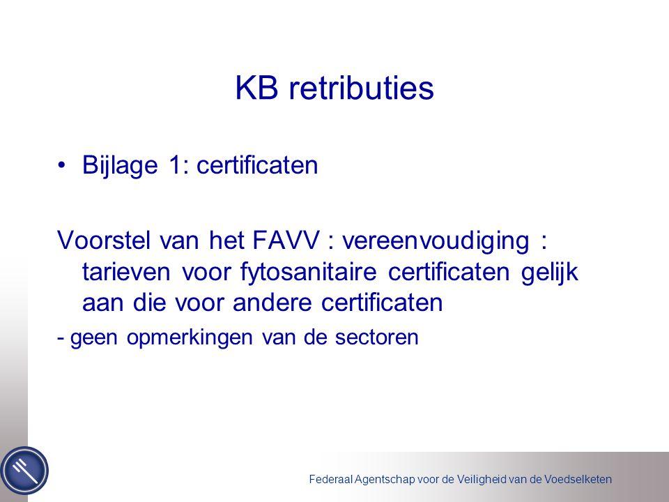 Federaal Agentschap voor de Veiligheid van de Voedselketen KB retributies •Bijlage 1: certificaten Voorstel van het FAVV : vereenvoudiging : tarieven voor fytosanitaire certificaten gelijk aan die voor andere certificaten - geen opmerkingen van de sectoren