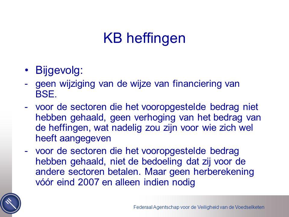 Federaal Agentschap voor de Veiligheid van de Voedselketen KB heffingen •Bijgevolg: -geen wijziging van de wijze van financiering van BSE.