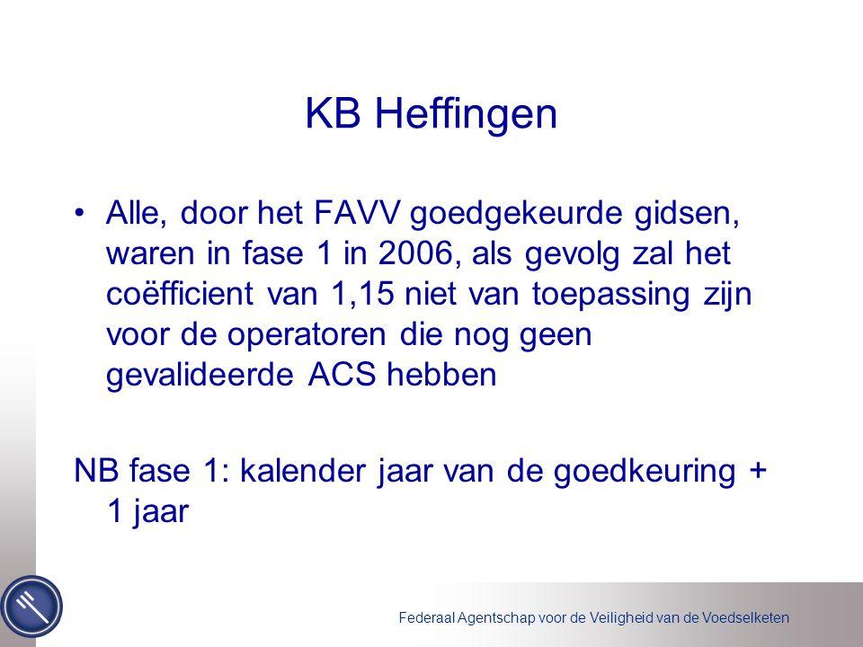 Federaal Agentschap voor de Veiligheid van de Voedselketen KB Heffingen •Alle, door het FAVV goedgekeurde gidsen, waren in fase 1 in 2006, als gevolg zal het coëfficient van 1,15 niet van toepassing zijn voor de operatoren die nog geen gevalideerde ACS hebben NB fase 1: kalender jaar van de goedkeuring + 1 jaar