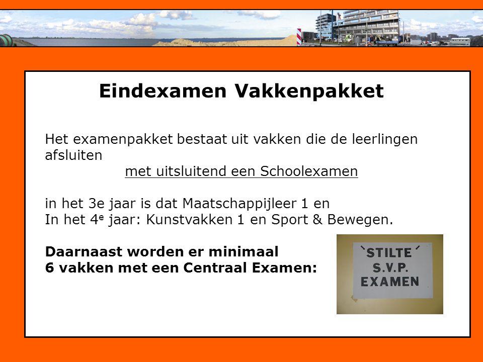 Personeelsbeleid Eindexamen Vakkenpakket Het examenpakket bestaat uit vakken die de leerlingen afsluiten met uitsluitend een Schoolexamen in het 3e jaar is dat Maatschappijleer 1 en In het 4 e jaar: Kunstvakken 1 en Sport & Bewegen.