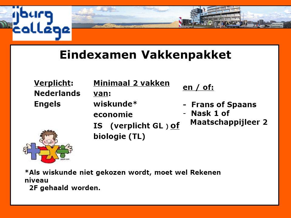 Personeelsbeleid Eindexamen Vakkenpakket Verplicht: Nederlands Engels Minimaal 2 vakken van: wiskunde* economie IS (verplicht GL ) of biologie (TL) *A