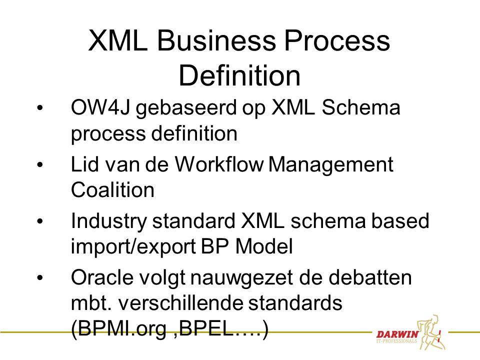 10 XML Business Process Definition • OW4J gebaseerd op XML Schema process definition • Lid van de Workflow Management Coalition • Industry standard XM