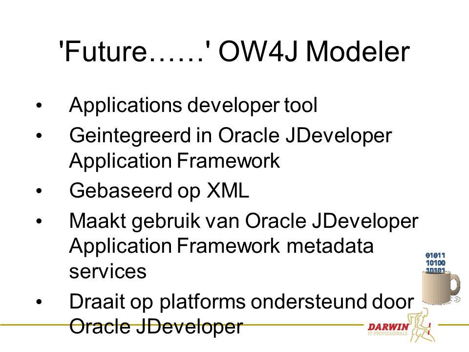 11 Future…… OW4J Modeler • Applications developer tool • Geintegreerd in Oracle JDeveloper Application Framework • Gebaseerd op XML • Maakt gebruik van Oracle JDeveloper Application Framework metadata services • Draait op platforms ondersteund door Oracle JDeveloper