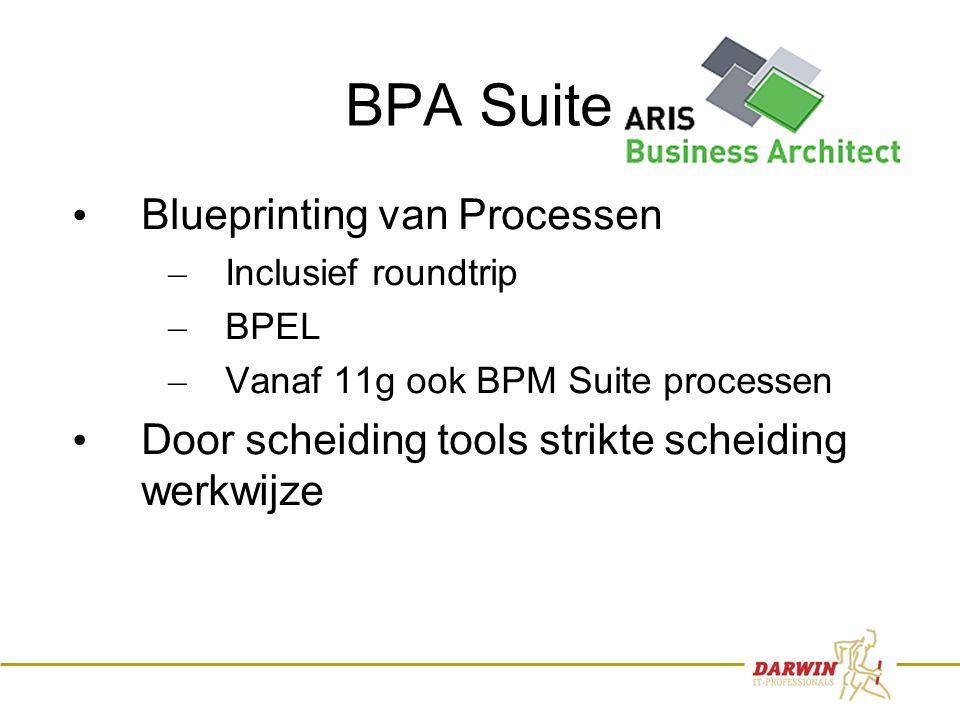 21 BPA Suite • Blueprinting van Processen – Inclusief roundtrip – BPEL – Vanaf 11g ook BPM Suite processen • Door scheiding tools strikte scheiding werkwijze