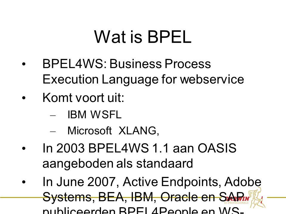 36 Wat is BPEL • BPEL4WS: Business Process Execution Language for webservice • Komt voort uit: – IBM WSFL – Microsoft XLANG, • In 2003 BPEL4WS 1.1 aan