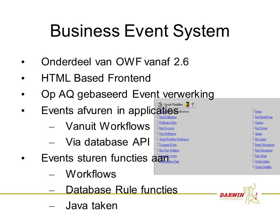 6 Business Event System • Onderdeel van OWF vanaf 2.6 • HTML Based Frontend • Op AQ gebaseerd Event verwerking • Events afvuren in applicaties – Vanui