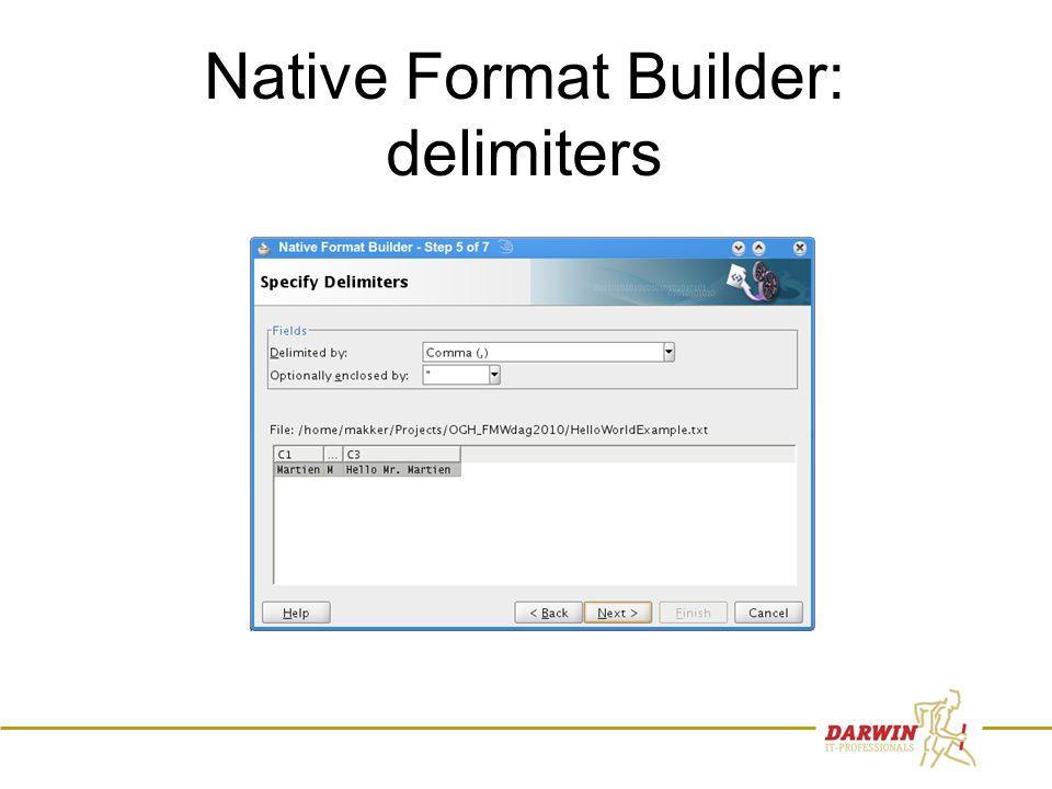 62 Native Format Builder: delimiters