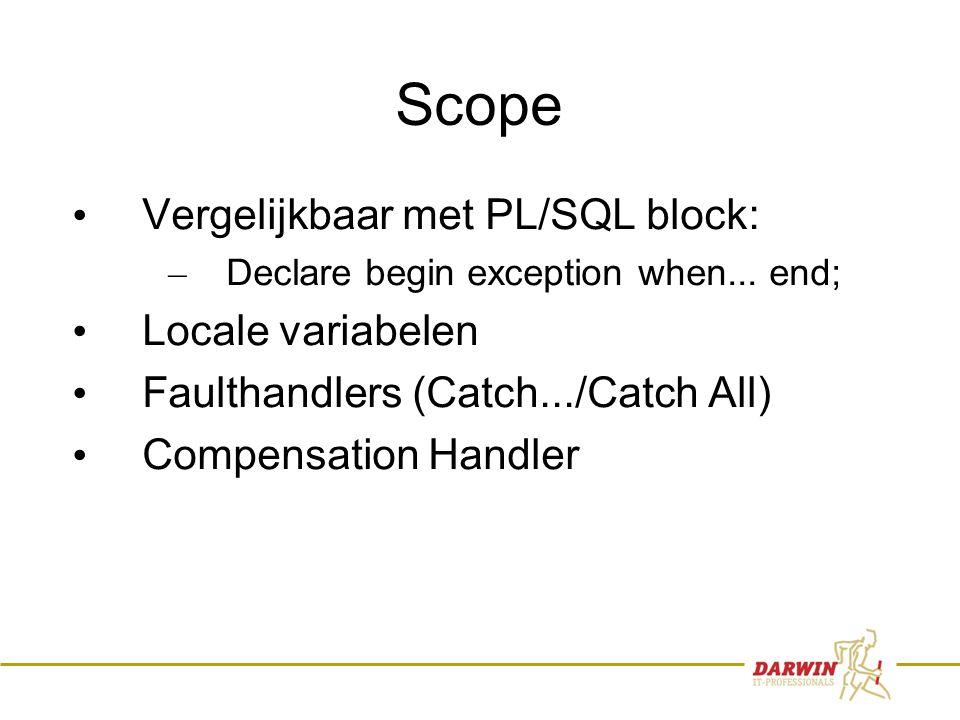 70 Scope • Vergelijkbaar met PL/SQL block: – Declare begin exception when... end; • Locale variabelen • Faulthandlers (Catch.../Catch All) • Compensat