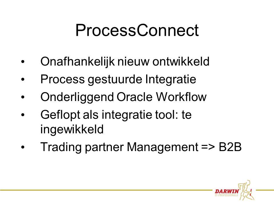 8 ProcessConnect • Onafhankelijk nieuw ontwikkeld • Process gestuurde Integratie • Onderliggend Oracle Workflow • Geflopt als integratie tool: te ingewikkeld • Trading partner Management => B2B