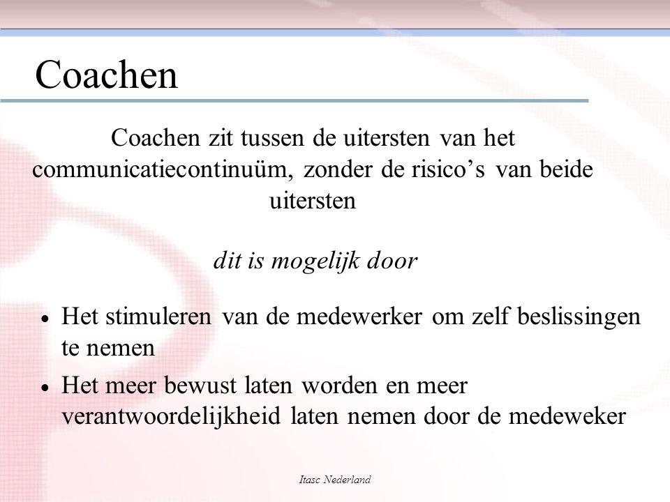 Itasc Nederland Coachen Coachen zit tussen de uitersten van het communicatiecontinuüm, zonder de risico's van beide uitersten  Het stimuleren van de