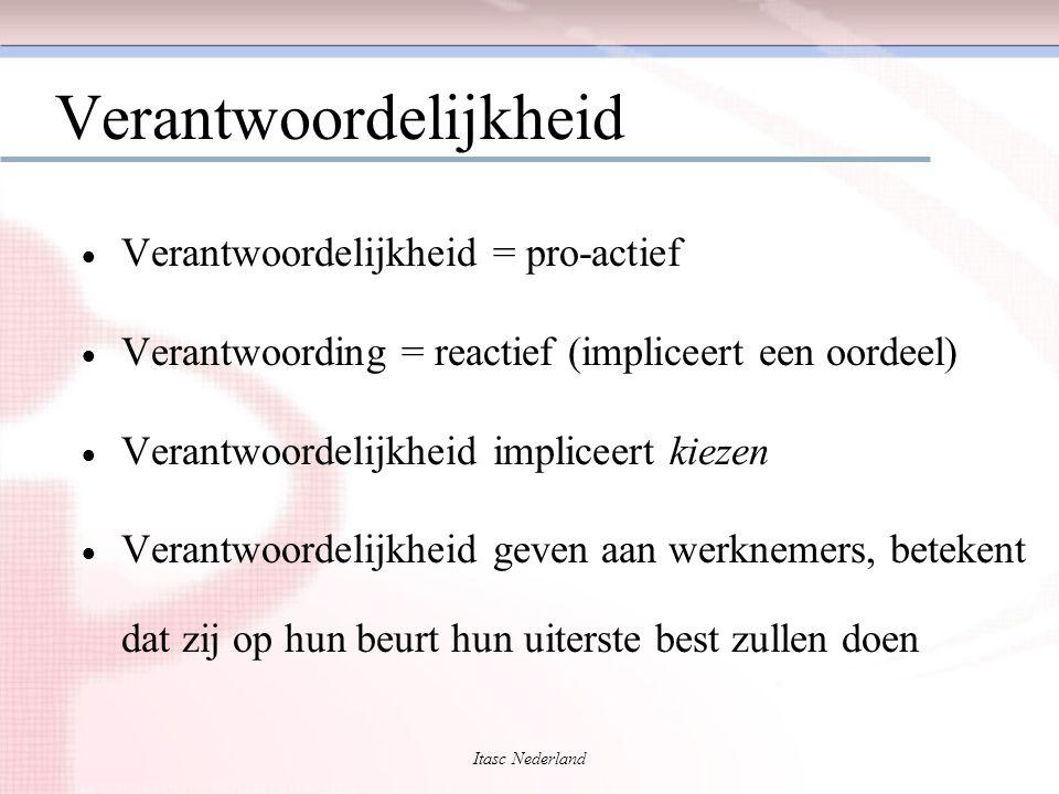 Itasc Nederland Verantwoordelijkheid  Verantwoordelijkheid = pro-actief  Verantwoording = reactief (impliceert een oordeel)  Verantwoordelijkheid i