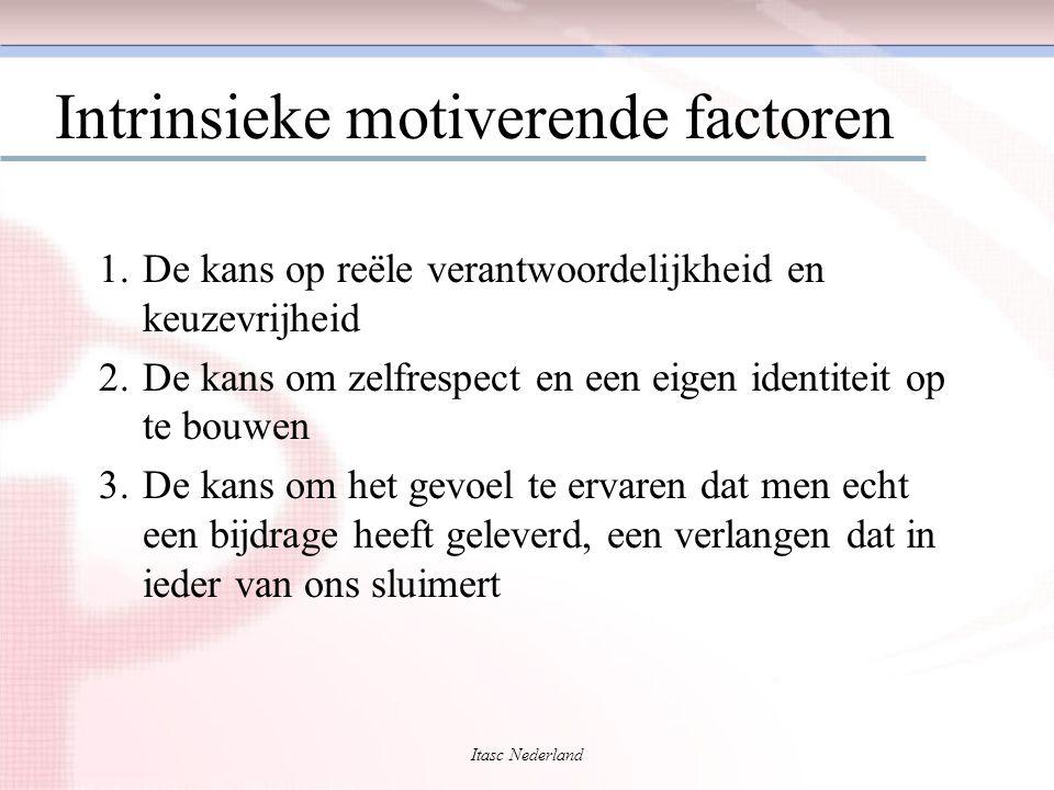 Itasc Nederland Intrinsieke motiverende factoren 1.De kans op reële verantwoordelijkheid en keuzevrijheid 2.De kans om zelfrespect en een eigen identi