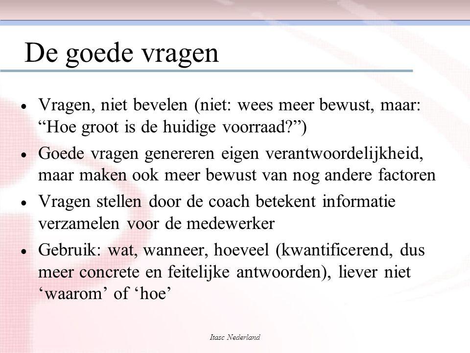 """Itasc Nederland De goede vragen  Vragen, niet bevelen (niet: wees meer bewust, maar: """"Hoe groot is de huidige voorraad?"""")  Goede vragen genereren ei"""