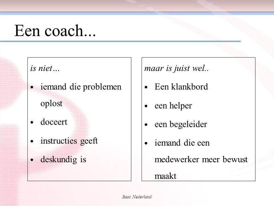 Itasc Nederland Een coach... is niet…  iemand die problemen oplost  doceert  instructies geeft  deskundig is maar is juist wel..  Een klankbord 