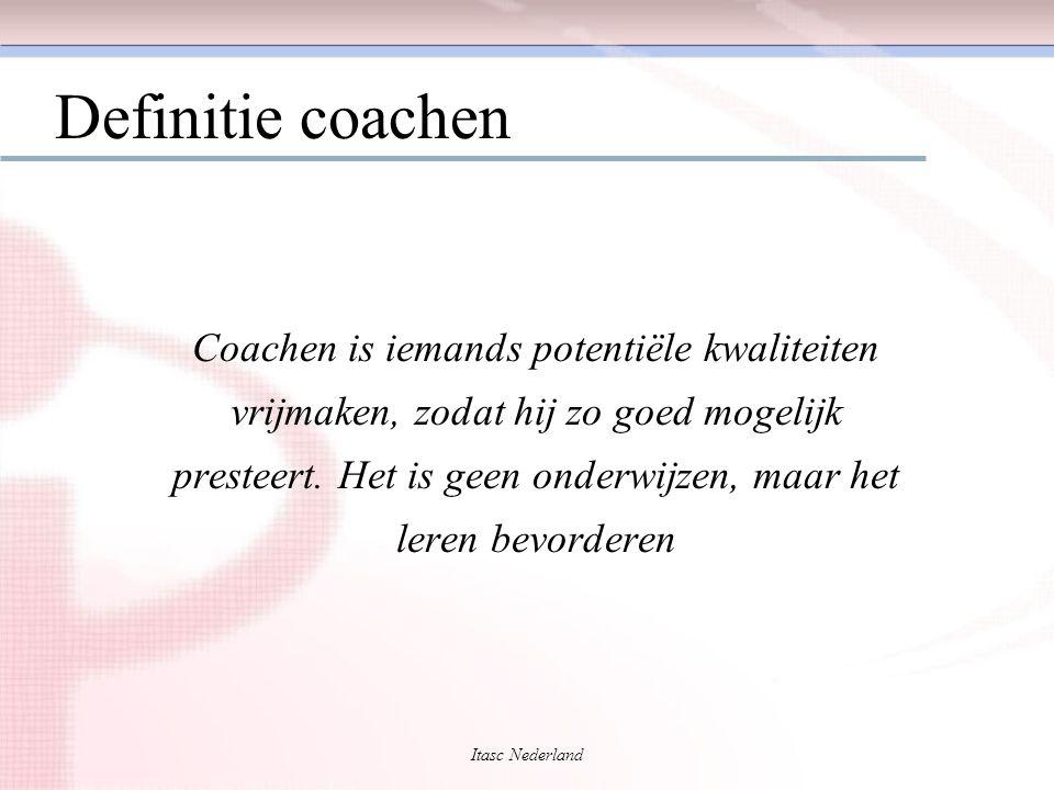 Itasc Nederland Succesvol coachen is gebaseerd op: ContextBewustzijn en verantwoordelijkheid VaardigheidDe juiste vragen stellen Sequentie'Grow' - Doelen - Werkelijkheid - Opties - Wil