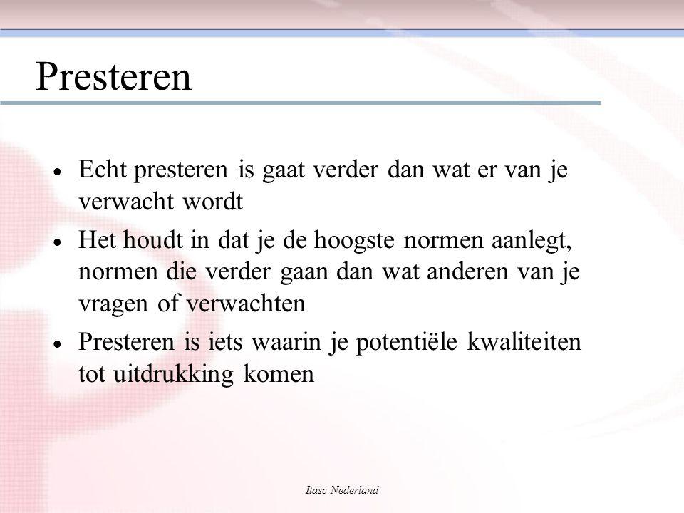 Itasc Nederland Presteren  Echt presteren is gaat verder dan wat er van je verwacht wordt  Het houdt in dat je de hoogste normen aanlegt, normen die