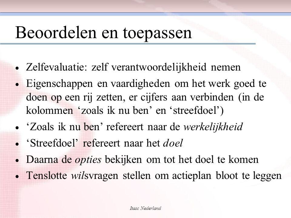 Itasc Nederland Beoordelen en toepassen  Zelfevaluatie: zelf verantwoordelijkheid nemen  Eigenschappen en vaardigheden om het werk goed te doen op e