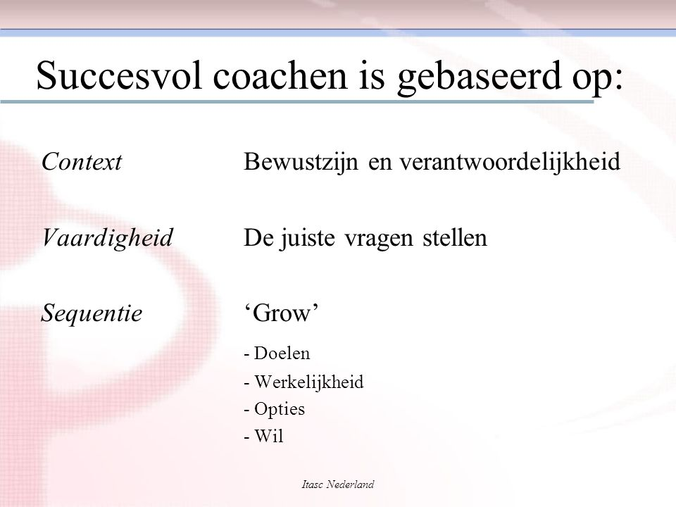 Itasc Nederland Succesvol coachen is gebaseerd op: ContextBewustzijn en verantwoordelijkheid VaardigheidDe juiste vragen stellen Sequentie'Grow' - Doe