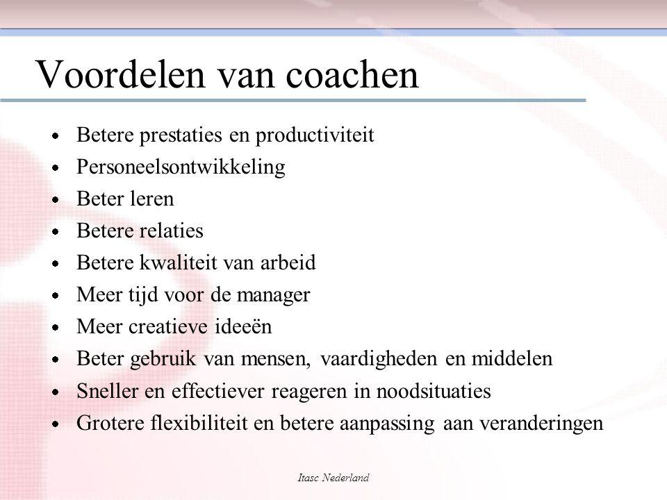Itasc Nederland Voordelen van coachen  Betere prestaties en productiviteit  Personeelsontwikkeling  Beter leren  Betere relaties  Betere kwalitei