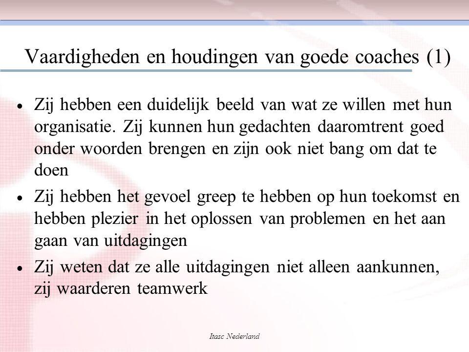 Itasc Nederland Vaardigheden en houdingen van goede coaches (1)  Zij hebben een duidelijk beeld van wat ze willen met hun organisatie. Zij kunnen hun